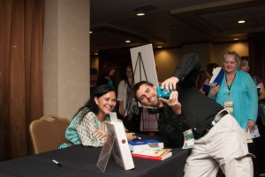 Keynote Diana Gabaldon with a fan at the WW Conference, 2014. Photo credit Malcolm Manness.