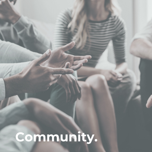 Group of people gather with text - community.