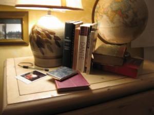 Books, globe, props