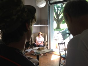 Randall Jahnson and son Dylan on set