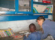 A donation to a library in Kenya, made possible because of generous volunteers who take books to Africa.