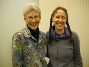 Molly Best Tinsley on Left with Anna Monders at Willamette Writers Southern Oregon