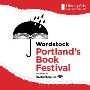 Wordstock Logo of Umbrella made out of a book