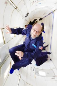 Author David D. Levine floating in space