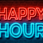 Happy Hour sign in red and blue on wall