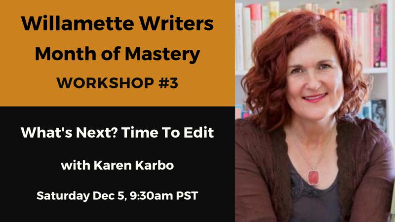 Month of Mastery December 5 workshop information, with image of presenter Karen Karbo. Orange and black background